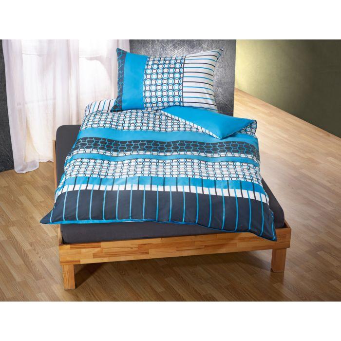 Bettwäsche mit geometrischem Muster blau-schwarz