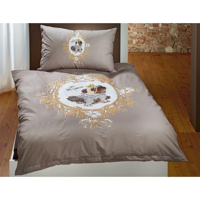 Bettwäsche Mops mit Tutu im Ornamentrahmen