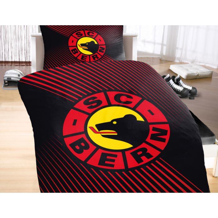 SC BERN Bettwäsche mit grossem Logo auf rot-schwarzem Untergrund