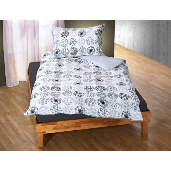 Linge de lit avec différents motifs de cercles en gris-blanc