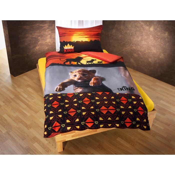 Linge de lit Le Roi des Lions, dans les coloris orange, noir et jaune