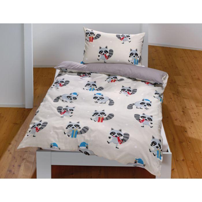 Linge de lit avec jolis ratons laveurs