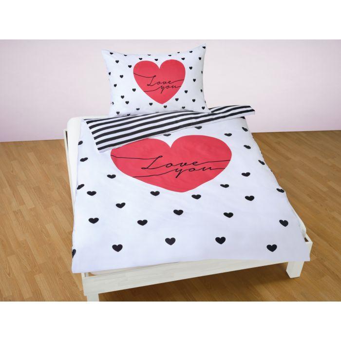 Bettwäsche mit Herzen und Love you weiss-schwarz-rot