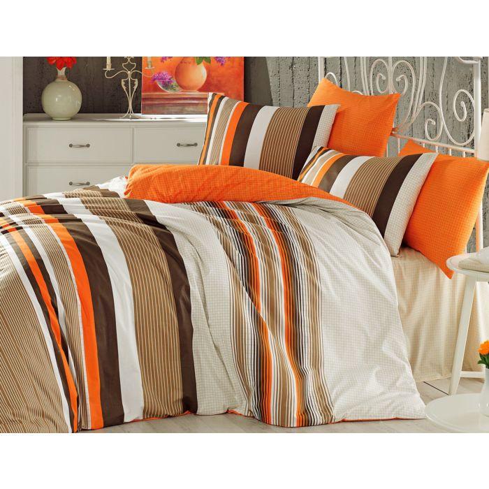 Bettwäsche mit frischem Streifenmuster in orange-braun
