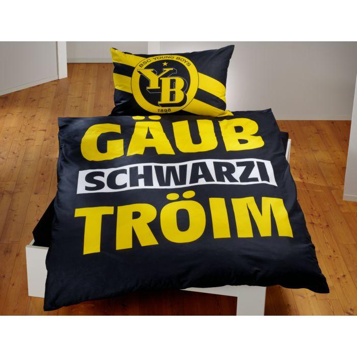 """Bettwäsche BSC Young Boys in schwarz gelb mit Schriftzug """"Gäub schwarzi Tröim"""""""