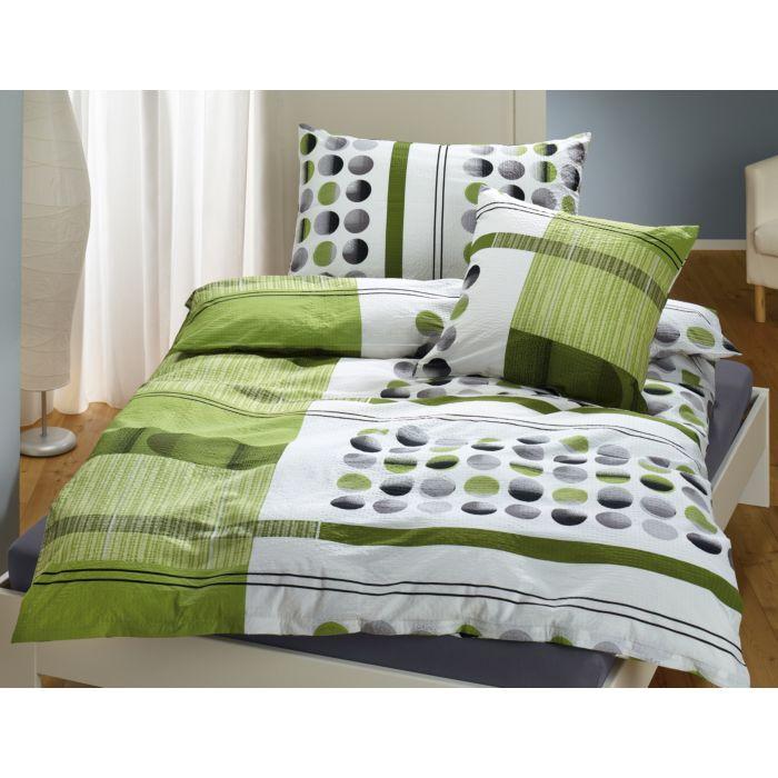 Bettwäsche grün mit Streifen und Punkten