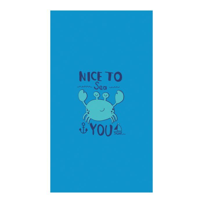 """Linge de plage bleu avec petit crabe et inscription """"Nice to Sea you"""""""