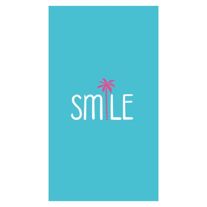 """Linge de plage turquoise avec inscription """"Smile"""" et palmier rose"""