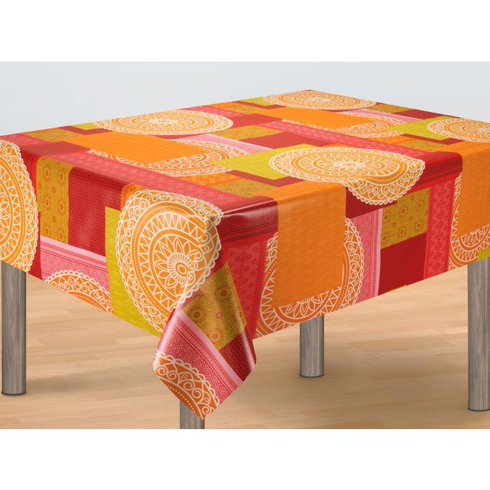 Nappe en vinyle ornée d'un motif de mandalas colorés, dans les tons orange, rose et vert
