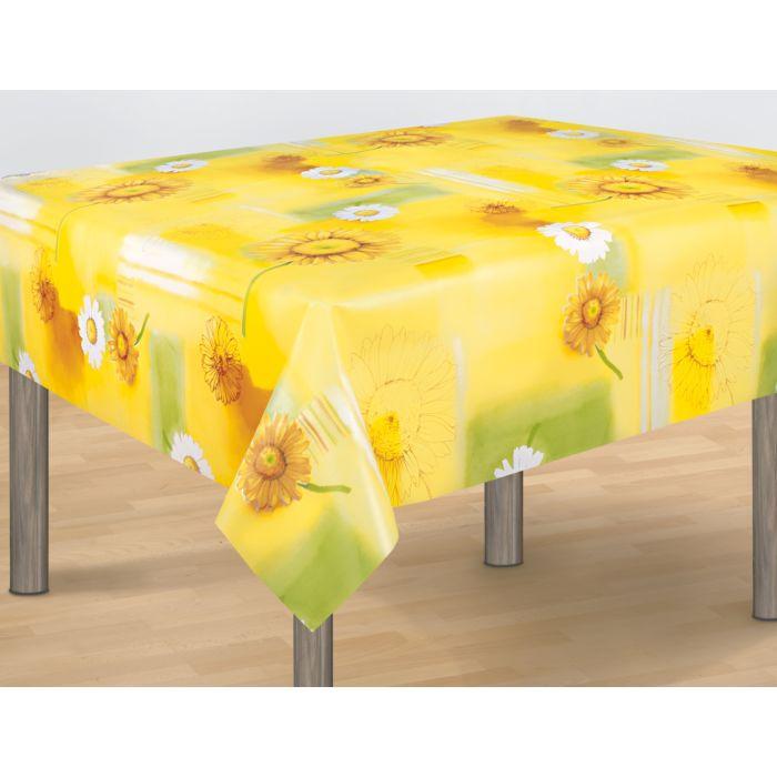 Vinyl-Tischdecke gelb mit Margeriten