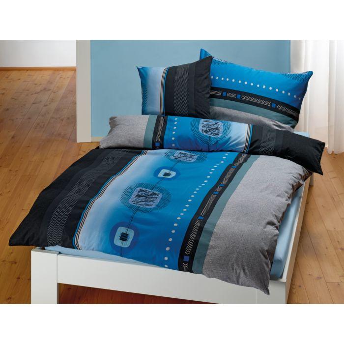 Bettwäsche mit grafischem Muster in blau-anthrazit-schwarz