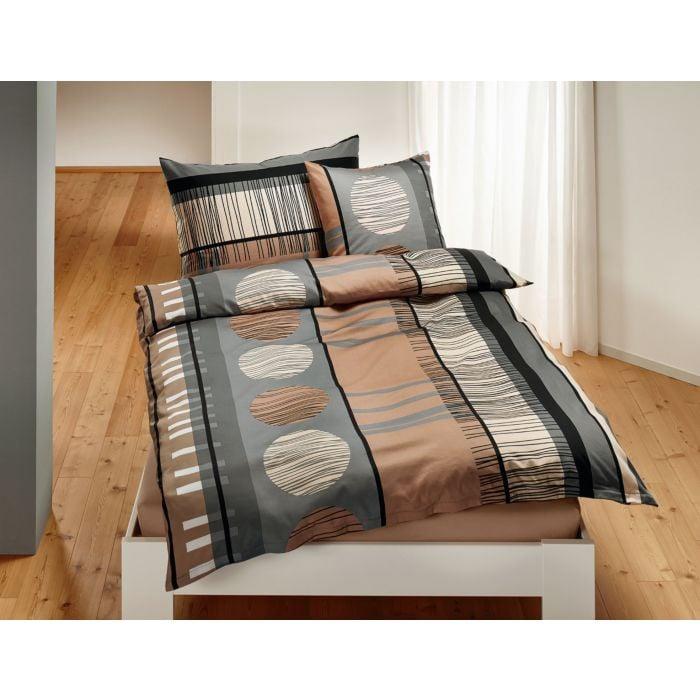 Bettwäsche schwarz-braun-grau mit Streifen und Kreisen