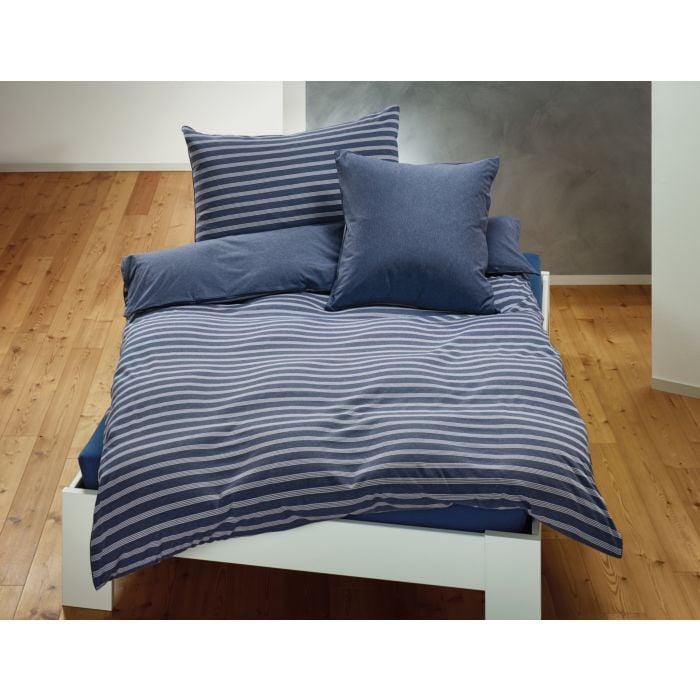 Jersey-Bettwäsche mit Biese und feinen Streifen