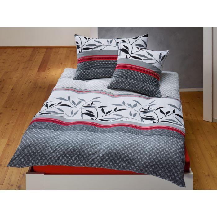 Linge de lit en blanc-noir-rouge avec motif de feuilles noires