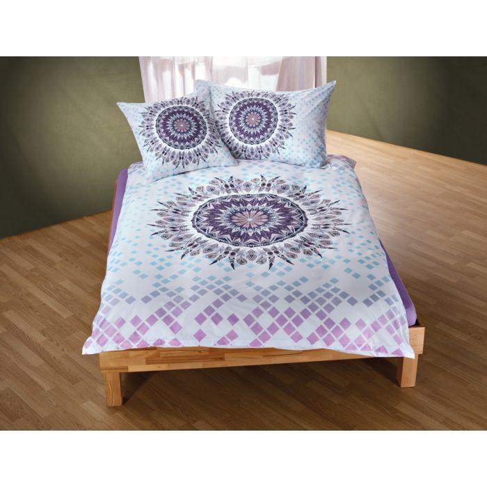 Bettwäsche mit Mandala-Traumfänger Motiv in zarten violett und türkis Tönen