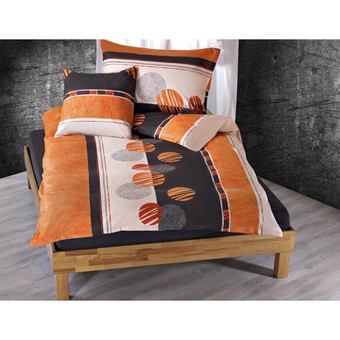 Bettwäsche mit Kreismotiv in orange-anthrazit