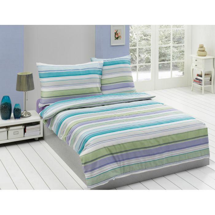 Bettwäsche gestreift in den Farbtönen Blau-Grün-Violett