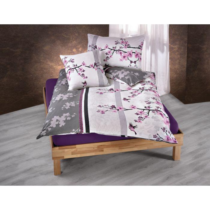 Bettwäsche mit Kirschblüten in schönen violett-anthrazit Farbtönen