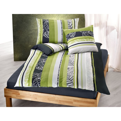 Bettwäsche mit Längsstreifen und Blattzeichnungen
