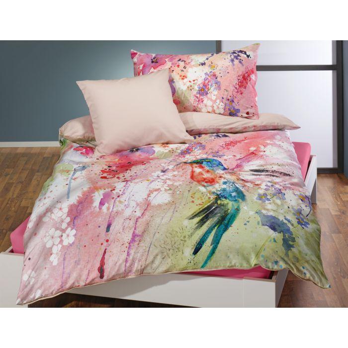 Bettwäsche mit Kolibri in farbenfroher Aquarell-Optik