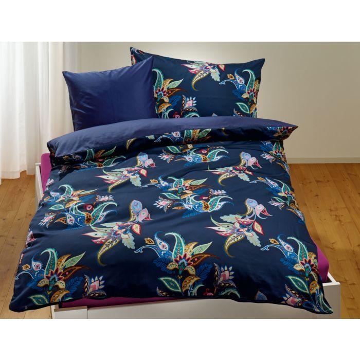 Bettwäsche dunkelblau mit abstraktem buntem Blumen-Muster