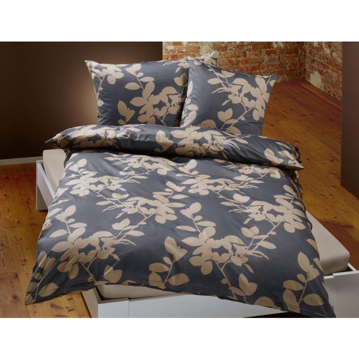 Bettwäsche mit Blattzweigen in mattem anthrazit-beige