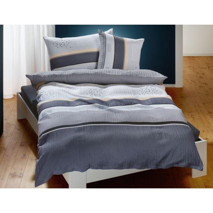 Bettwäsche Streifen und Punkte grau