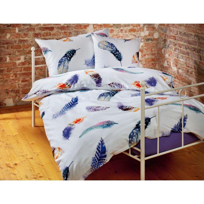 Bettwäsche weiss mit bunten Federn