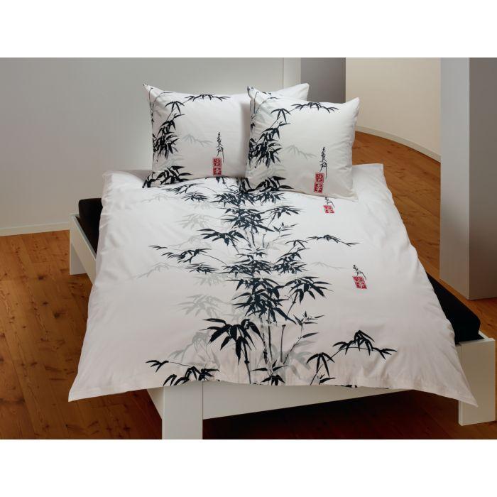 Linge de lit orné d'un bambou en noir-gris