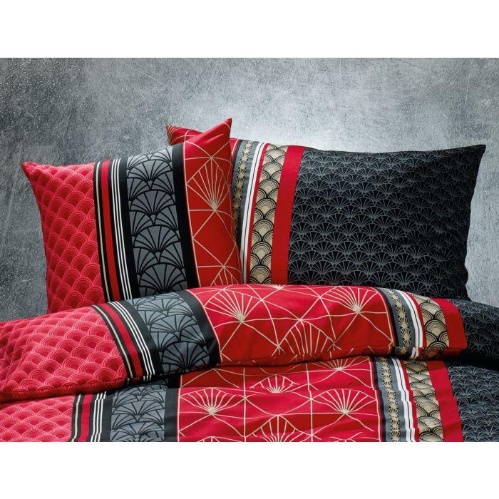 Bettwäsche Mit Modernem Muster In Schwarz Rot