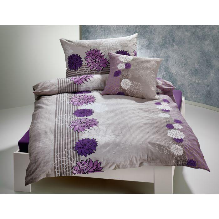 Bettwäsche hellgrau mit lila und weissen Blütenmotiven