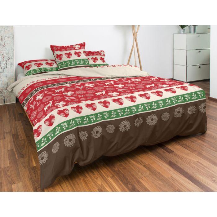 Parure de lit avec motifs de Noël en rouge, beige et vert