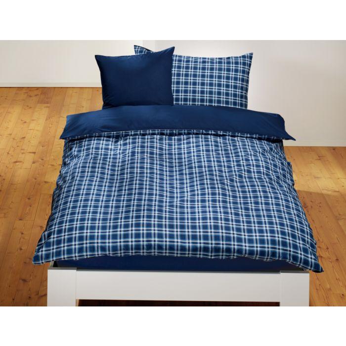 Linge de lit avec carreaux en marine-bleu