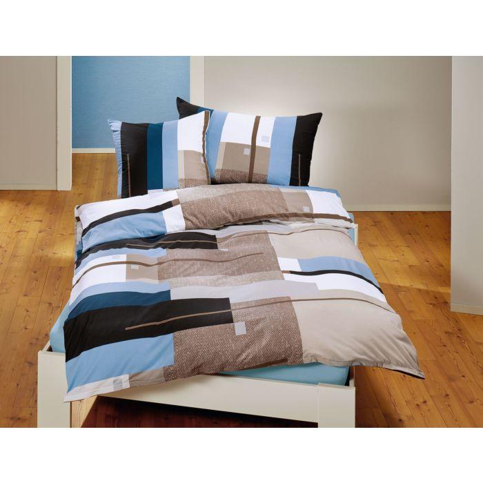 Bettwäsche mit Karomuster in Blau-Taupe