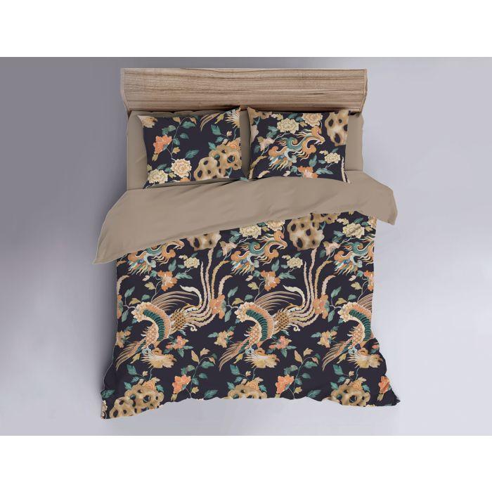 Linge de lit avec motif floral coloré