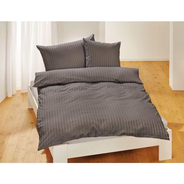 Linge de lit en satin bio uni à rayures