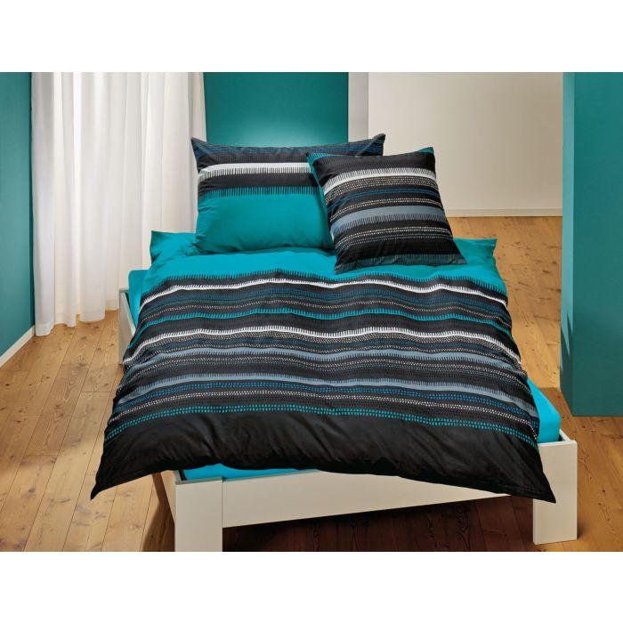 Image of Bettwäsche in den Farben Grau und Türkis mit schönem Streifenmuster