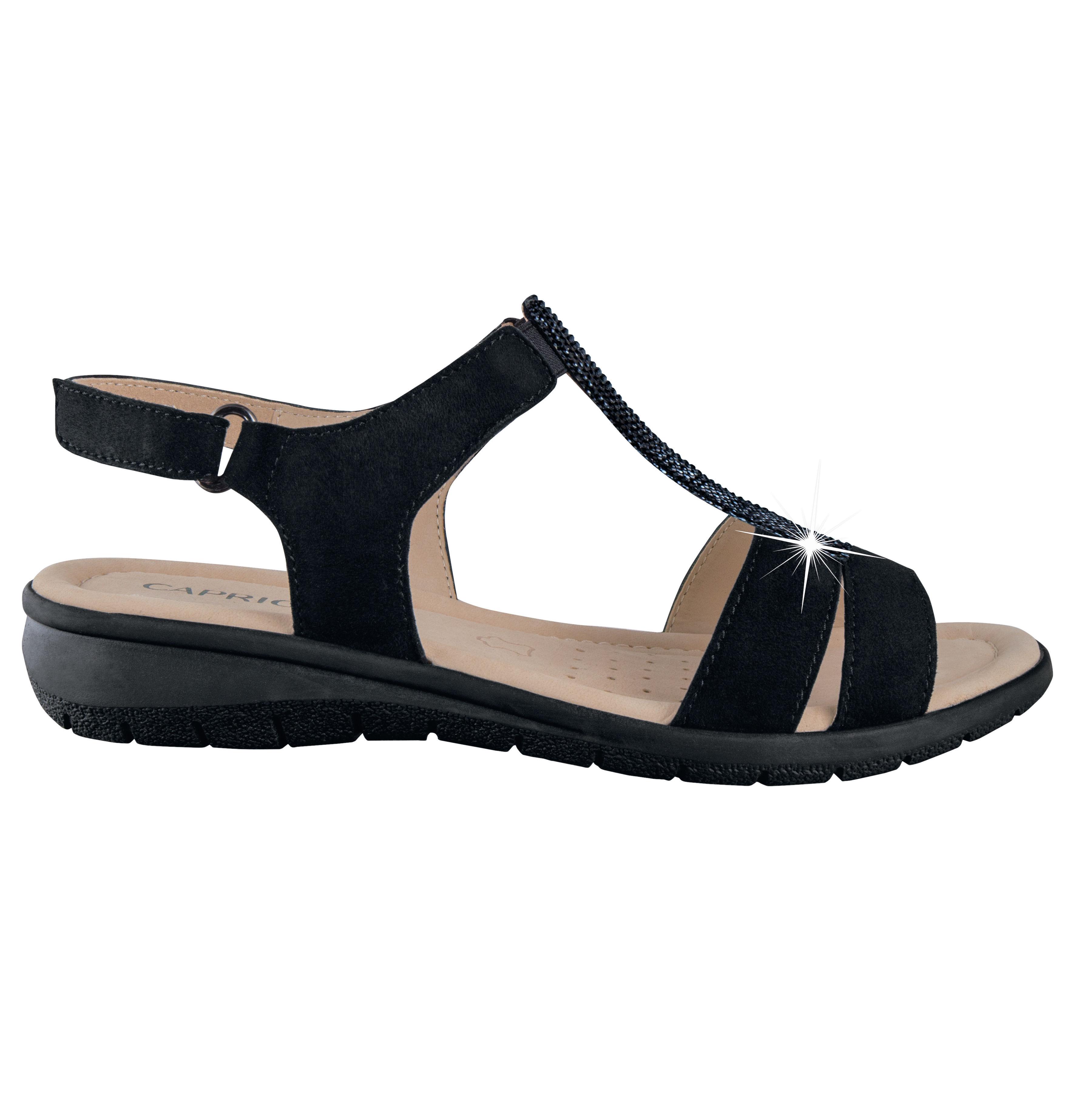 Nubuckleder Damen Schwarz Caprice Caprice Caprice Sandalette Damen Nubuckleder Schwarz Sandalette Sandalette Nubuckleder 4qj5L3AR