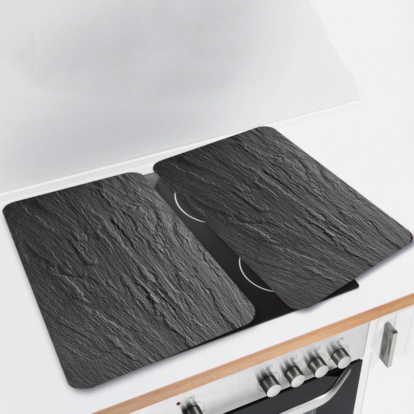 Plat En Verre Sur Plaque Induction protège-plaque en verre look ardoise