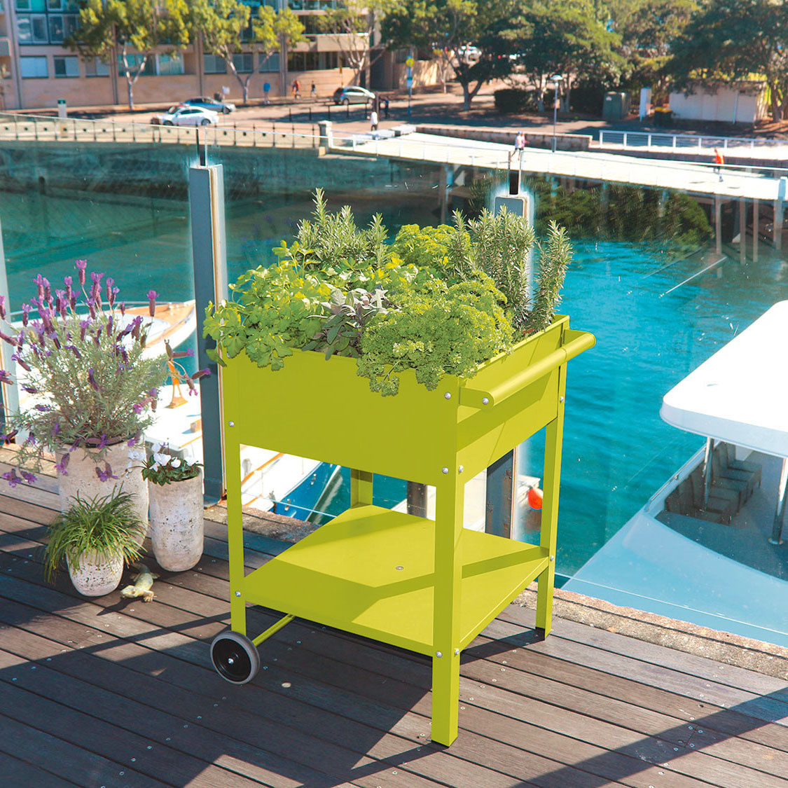 Terrasse Surélevée En Acier jardinière surélevée mobile pour terrasses, 80x55x55 cm