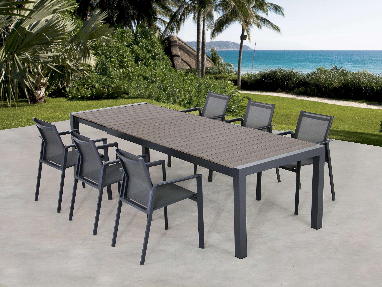 Gartentisch Mit Sechs Stühlen.Ausziehbarer Gartentisch Mit 6 Armlehn Stühle