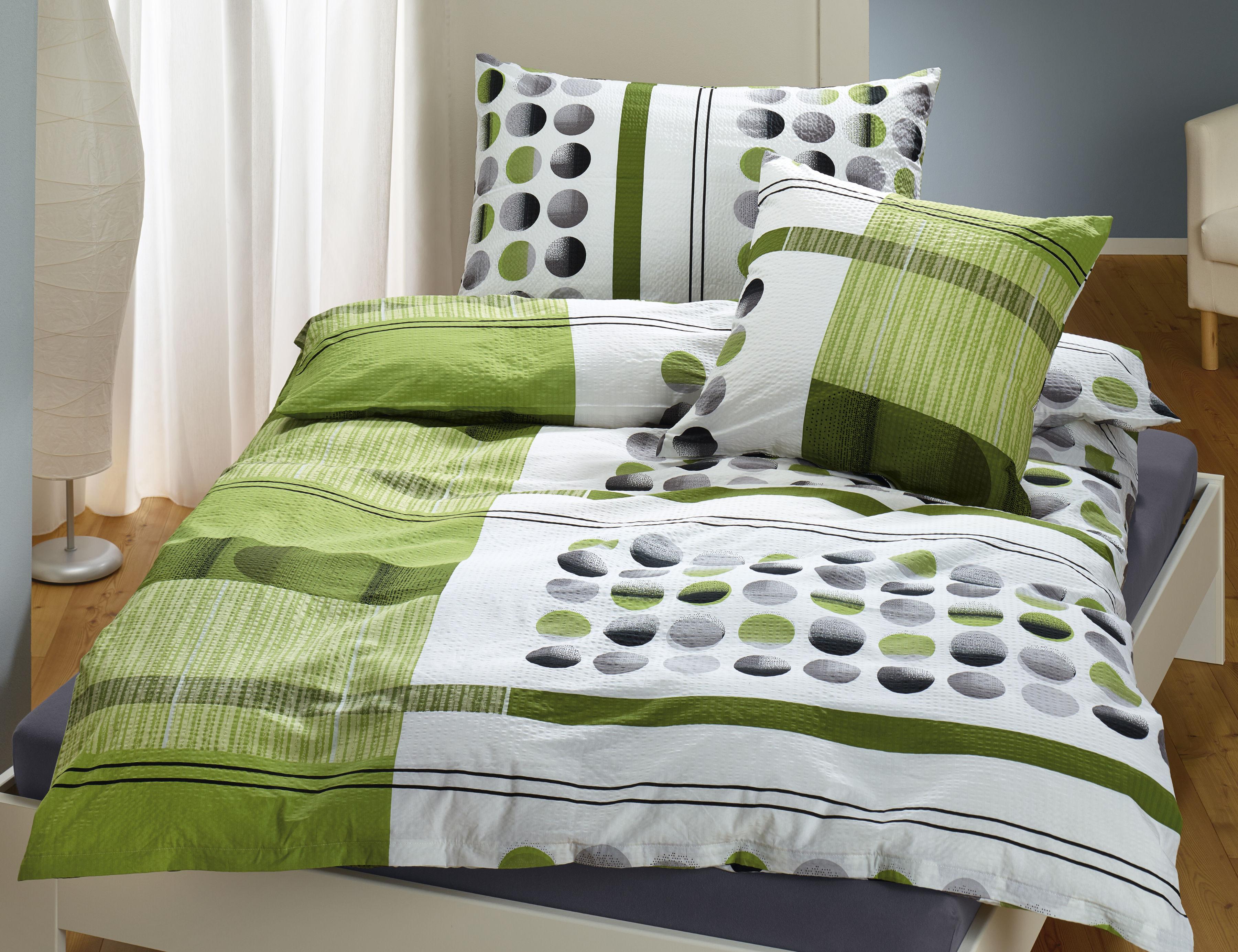 Bettwäsche Grün Mit Streifen Und Punkten Lehner Versand