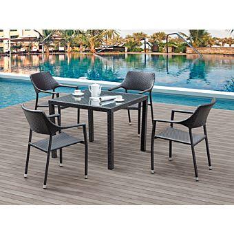 garten tisch und 4 st hle mit armlehne miro g nstig. Black Bedroom Furniture Sets. Home Design Ideas